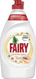 Характеристрики и размер товара FAIRY Средство для мытья посуды Нежные руки Ромашка и витамин Е 450мл