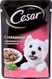 Характеристрики и размер товара Корм для взрослых собак Cesar всех пород из говядины и кролика в соусе со шпинатом, 24шт по 100г