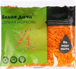 Характеристрики и размер товара Овощи свежие Белая дача Сочная морковь нарезанная мытая, 250 г