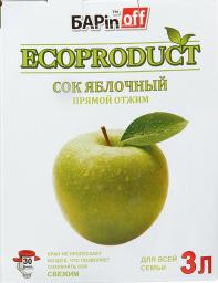 Характеристрики и размер товара Barinoff Сок Яблочный, 3 л