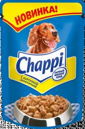 Характеристрики и размер товара Корм для взрослых собак Chappi мясное изобилие, 24шт*100г