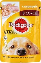 Характеристрики и размер товара Корм для собак Pedigree с курицей в желе 24шт по 100г