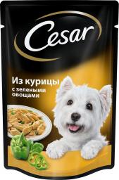 Характеристрики и размер товара Корм для взрослых собак Cesar всех пород из курицы с зелеными овощами, 24*100г
