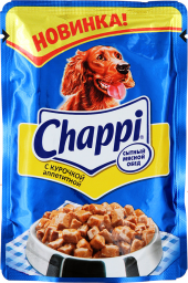Характеристрики и размер товара Корм для взрослых собак Chappi с курочкой аппетитной, 24шт*100г