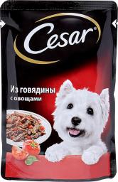 Характеристрики и размер товара Корм для взрослых собак Cesar всех пород из говядины с овощами, 24шт по 100г